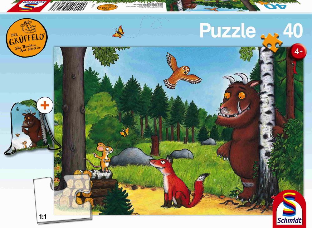 40 Teile Schmidt Spiele Kinder Puzzle Der Grüffelo mit Turnbeutel 56266