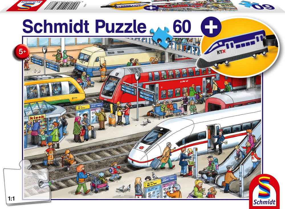 60 Teile Schmidt Spiele Kinder Puzzle Am Bahnhof mit Kofferanhänger Schnellzug 56328