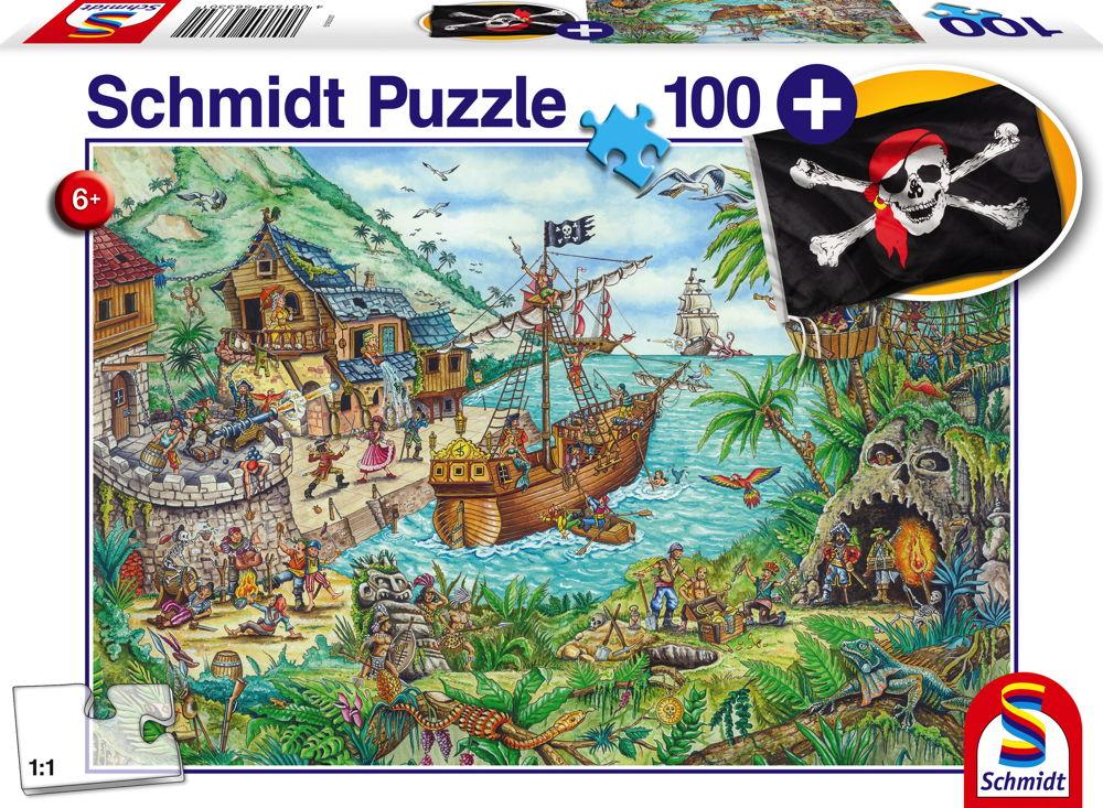 100 Teile Schmidt Spiele Kinder Puzzle In der Piratenbucht mit Piratenflagge 56330