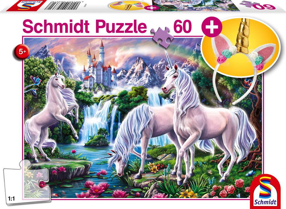 60 Teile Schmidt Spiele Kinder Puzzle Traumhafte Einhörner mit Einhorn-Haarreif 56331