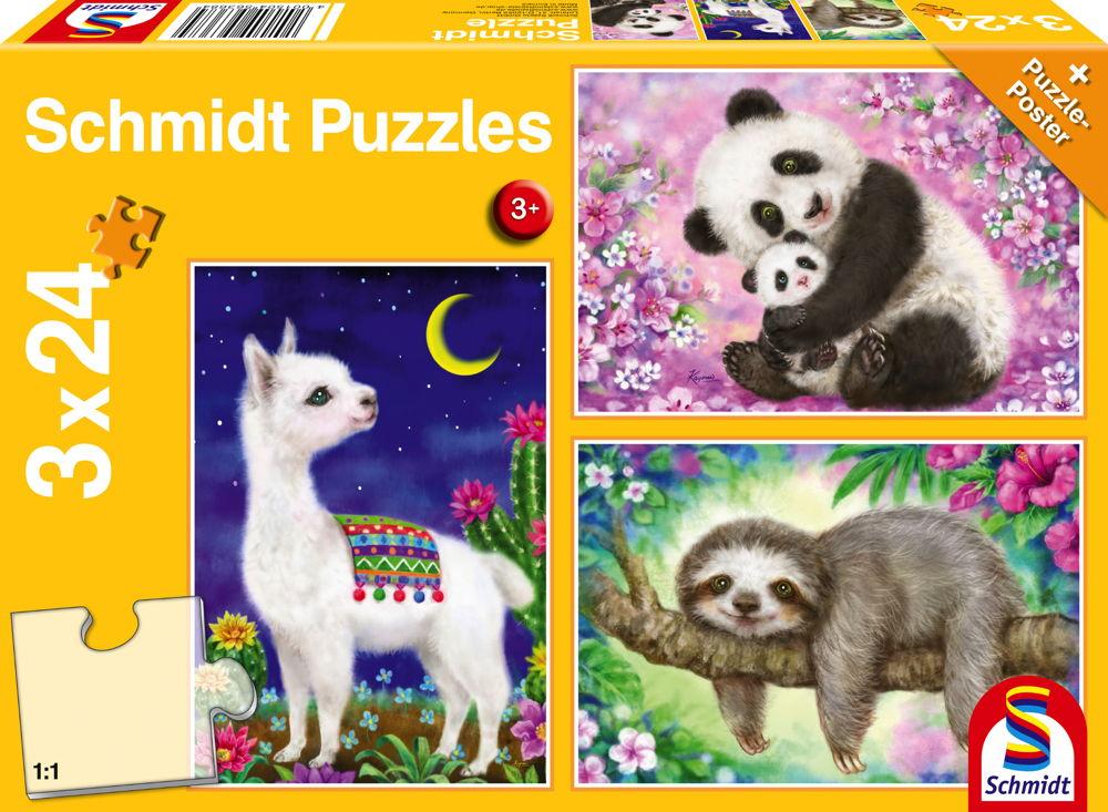 3 x 24 Teile Schmidt Spiele Kinder Puzzle Panda, Faultier & Lama 56368