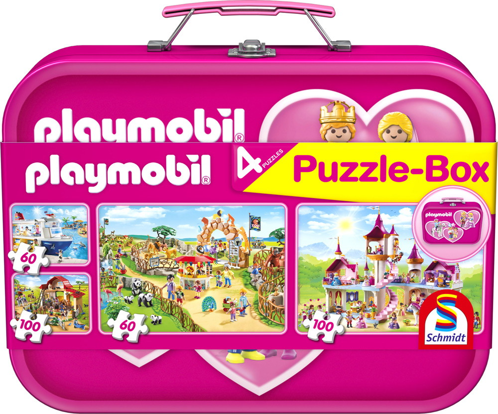 2 x 60 + 2 x 100 Teile Schmidt Spiele Kinder Puzzle Playmobil Puzzle-Box pink Metallkoffer 56498