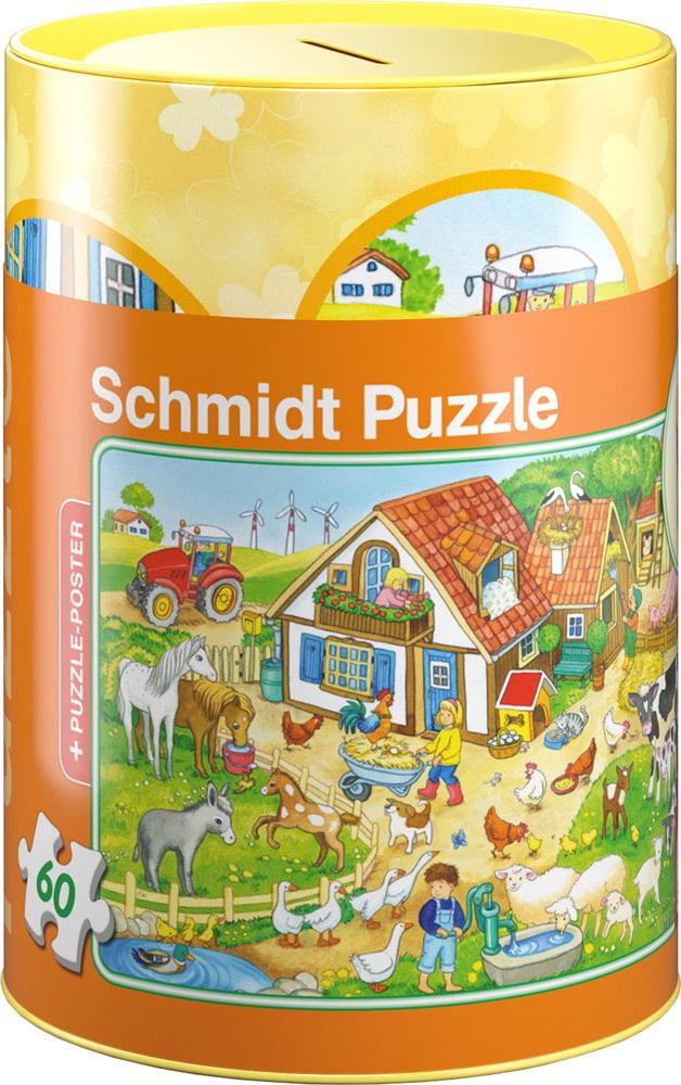 60 Teile Schmidt Spiele Kinder Puzzle Bauernhof in Spardose 56917