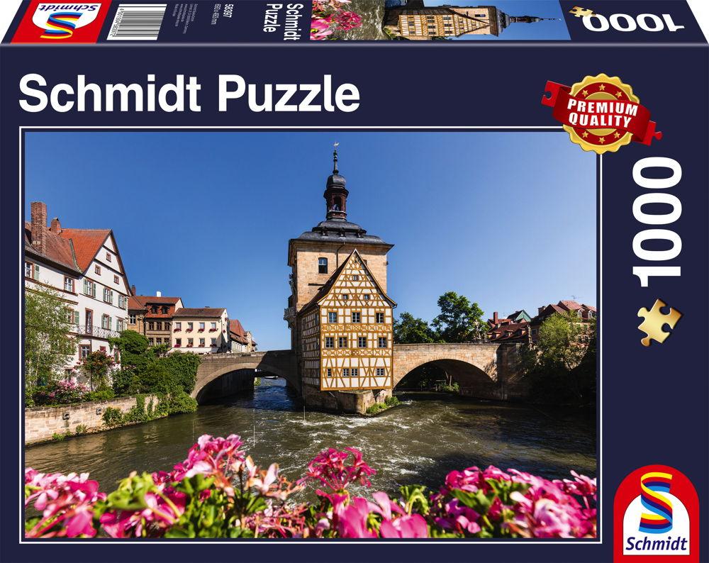 1000 Teile Schmidt Spiele Puzzle Bamberg, Regnitz und Altes Rathaus 58397