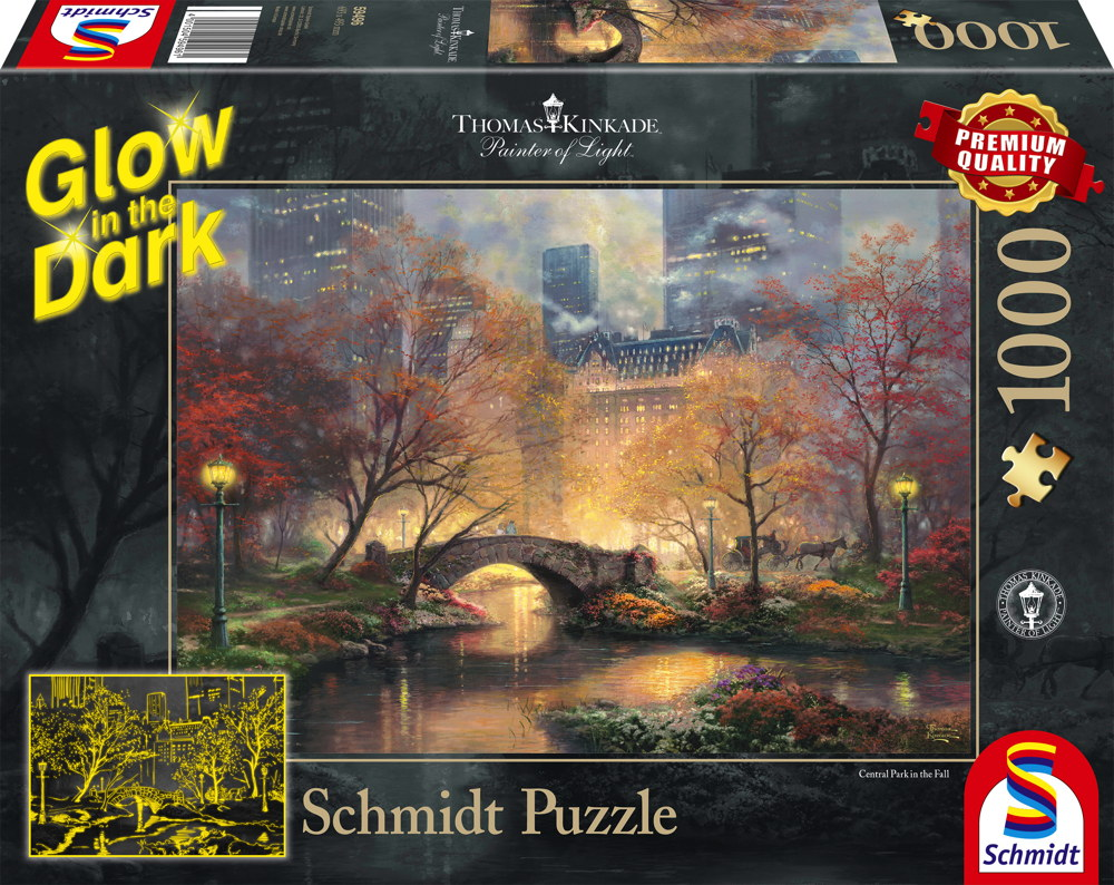 1000 Teile Schmidt Spiele Puzzle Thomas Kinkade Glow in the Dark Central Park im Herbst 59496