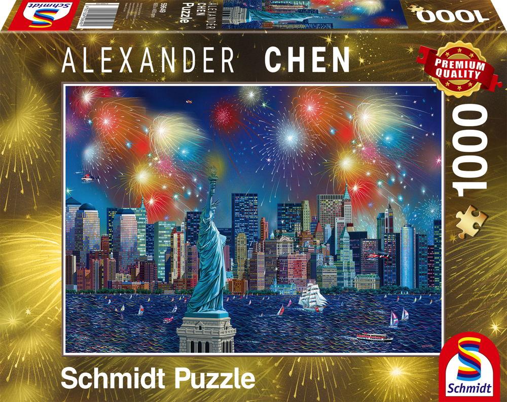 1000 Teile Schmidt Spiele Puzzle Alexander Chen Freiheitsstatue mit Feuerwerk 59649
