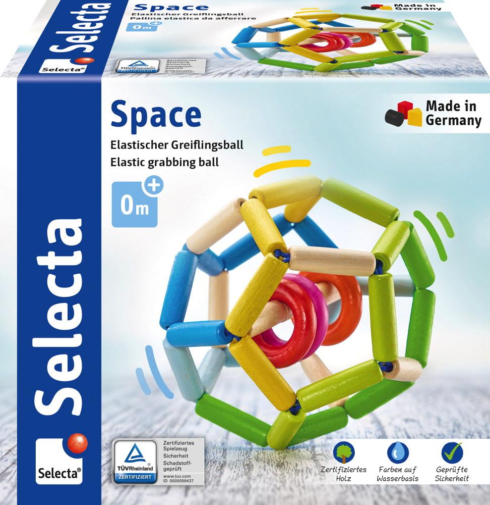 Selecta Babywelt Holz Rollspielzeug Space elastisch zum Hinterherkrabbeln 61008