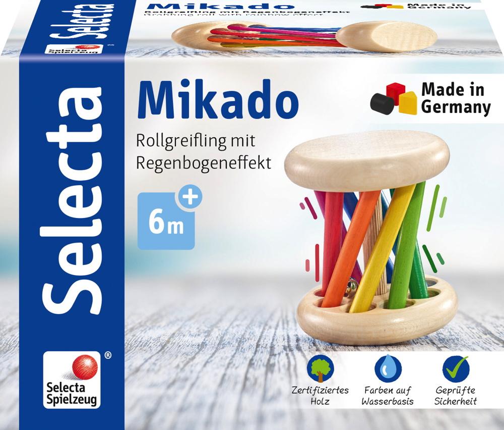 Selecta Babywelt Holz Rollspielzeug Mikado krabbeln Regenbogeneffekt 61034