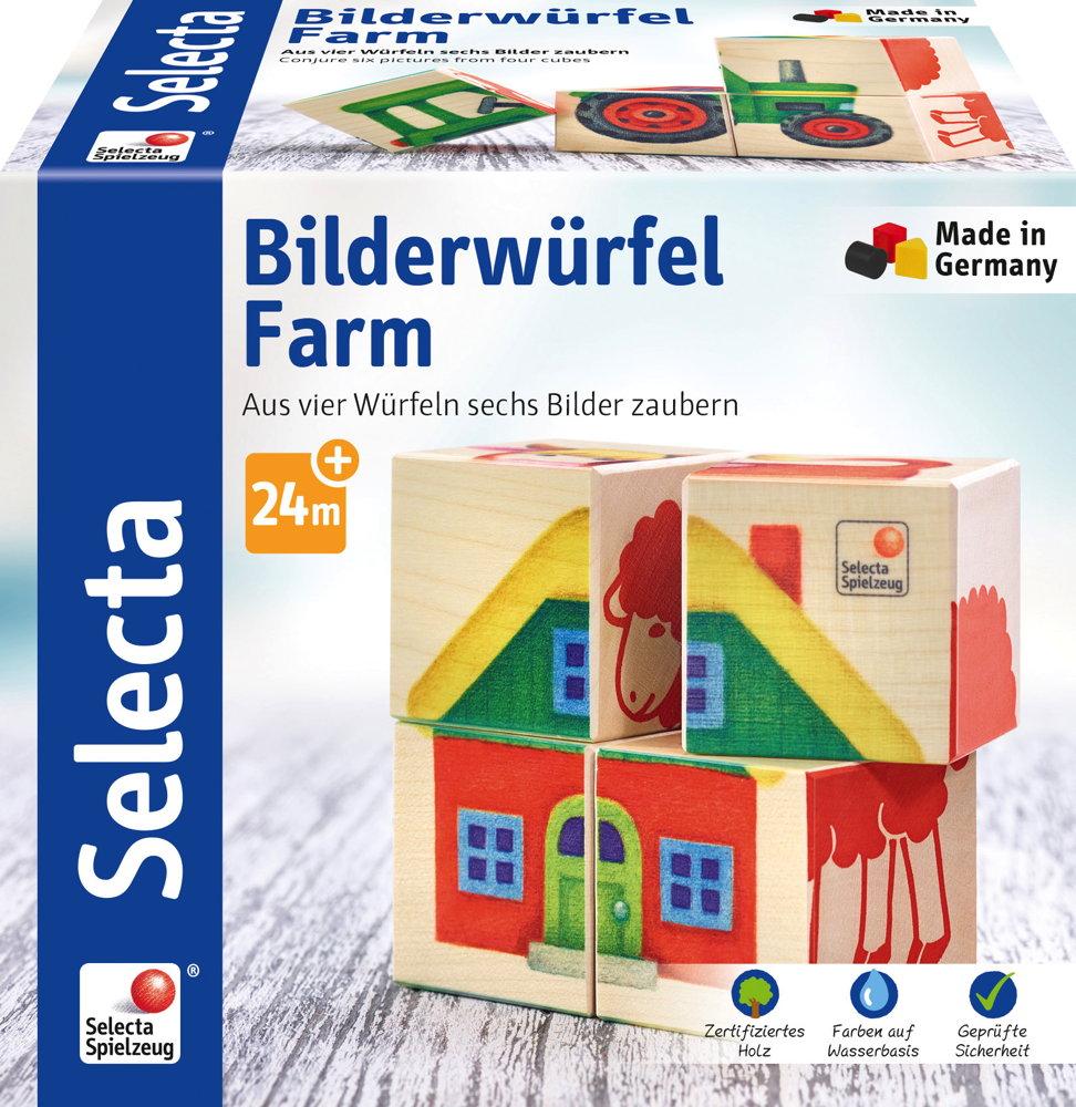 4 Teile Selecta Kleinkindwelt Holz Kinder Würfel Puzzle Farm 62052