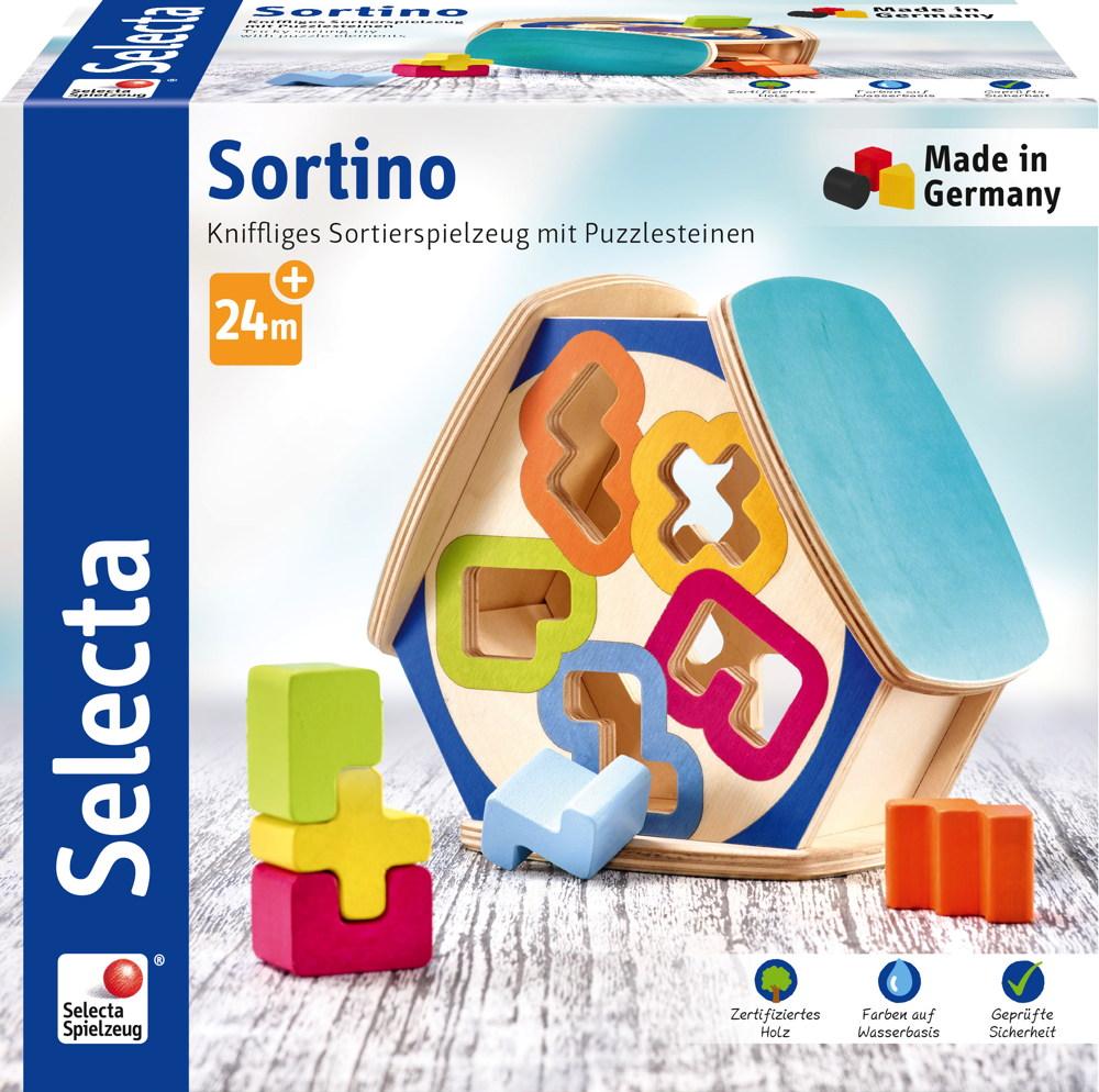 Selecta Kleinkindwelt Holz Sortierbox Sortino Puzzlesteinen 62066