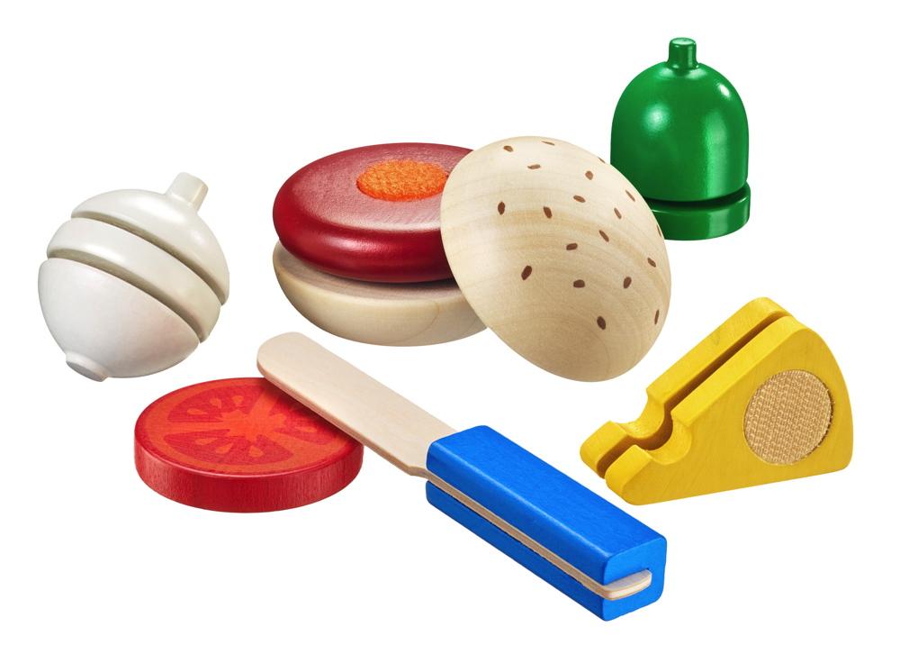 Selecta Kleinkindwelt Holz Burger 12 Teile Schneidespielzeug Mit