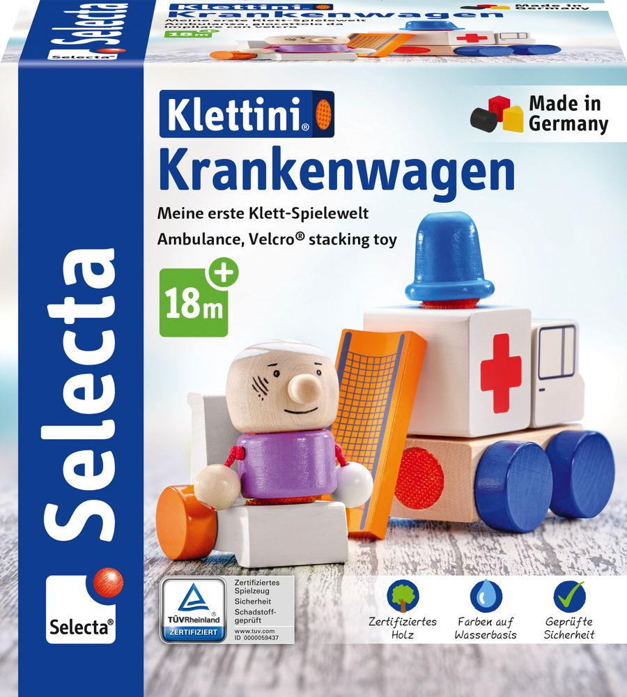 Selecta Kleinkindwelt Klettini® Holz Krankenwagen Klett-Stapelspielzeug 7 Teile 62081