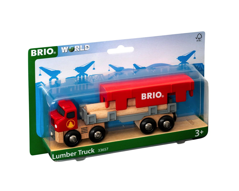 Brio World Eisenbahn Fahrzeug Holztransporter mit Magnetladung 6 Teile 33657
