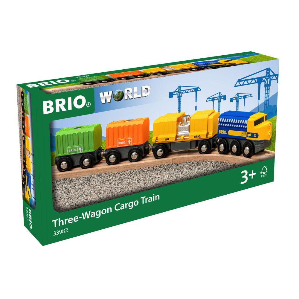 Brio World Eisenbahn Zug Güterzug mit drei Waggons 7 Teile 33982