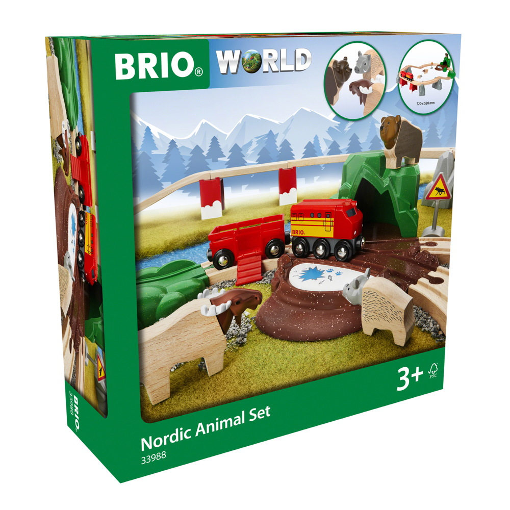 Brio World Eisenbahn Set Bahn Starter Set Nordische Waldtiere 26 Teile 33988