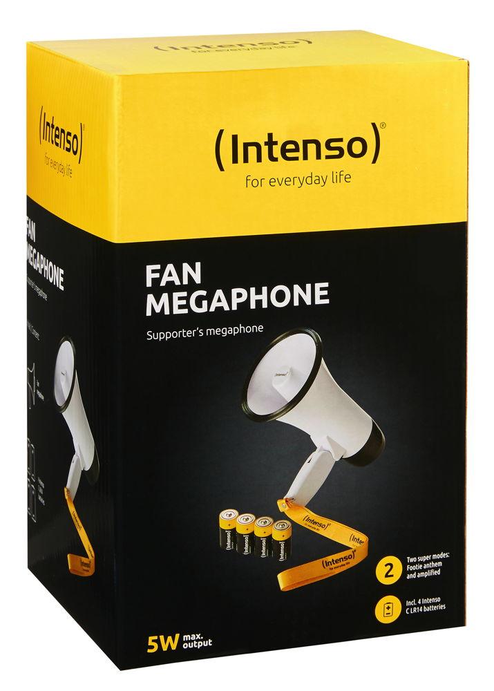 Intenso Fan Megafon inklusive 4x 1,5V Baby Batterien Typ C 115 Dezibel weiß