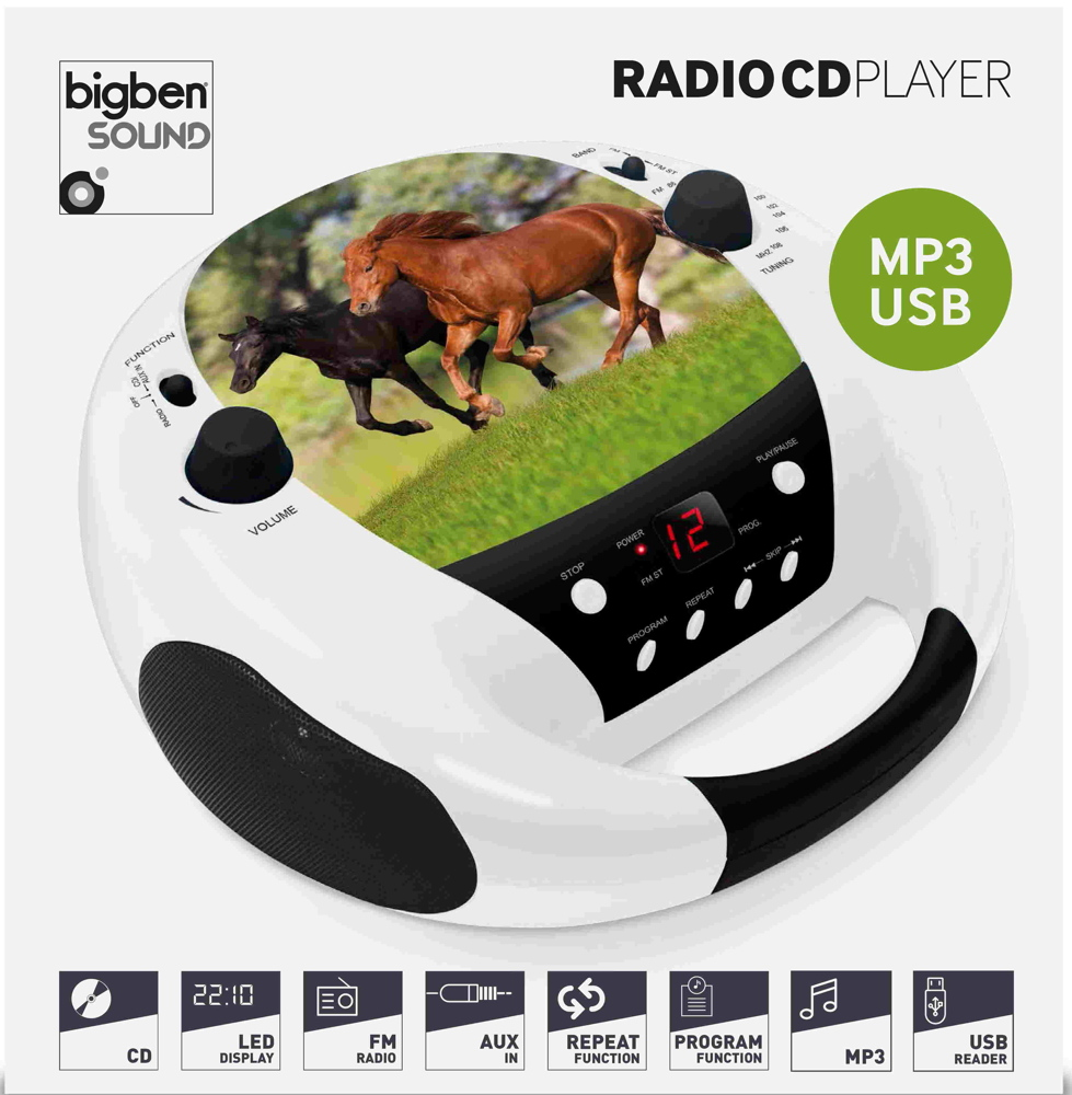 bigben tragbarer cd player cd52 horse pferd usb mp3 fm. Black Bedroom Furniture Sets. Home Design Ideas