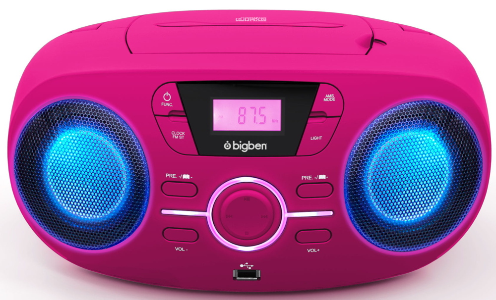 bigben tragbarer cd player cd61 pink usb mp3 fm radio aux. Black Bedroom Furniture Sets. Home Design Ideas