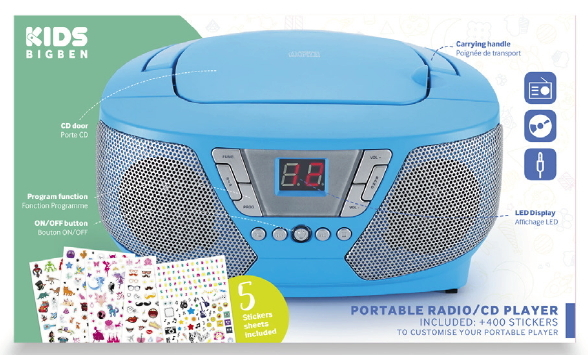 bigben tragbarer cd player cd60 kids blau fm radio aux in. Black Bedroom Furniture Sets. Home Design Ideas