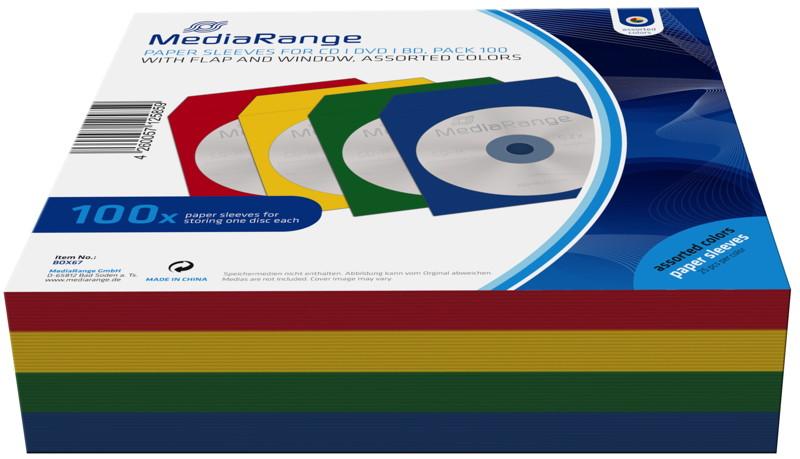 100 Mediarange Papiertaschen mit Fenster für je 1 BD / CD / DVD farbig