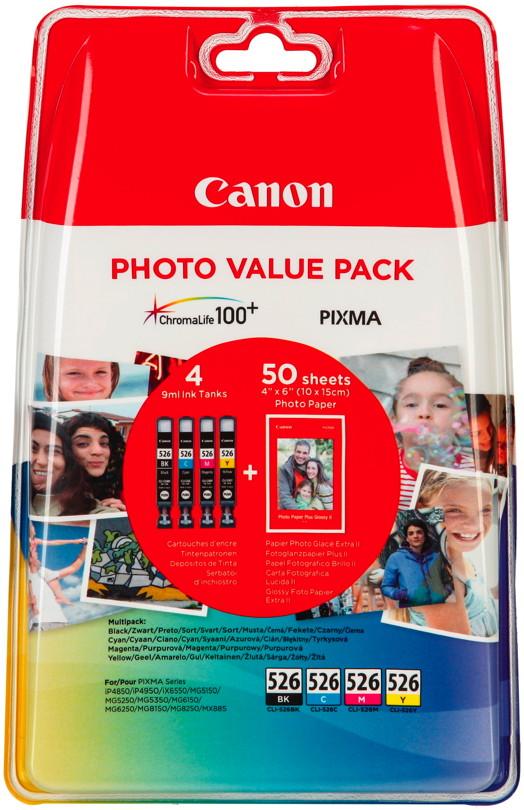 4 Canon Druckerpatronen Tinte CLI-526 BK / C / M / Y Multipack inkl. Fotopapier