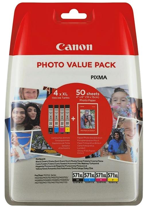 4 Canon Druckerpatronen Tinte CLI-571 XL BK / C / M / Y Multipack inkl. Fotopapier