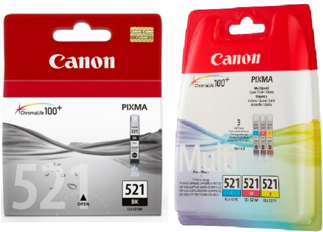 4 Canon Druckerpatronen Tinte CLI-521 BK / C / M / Y Multipack