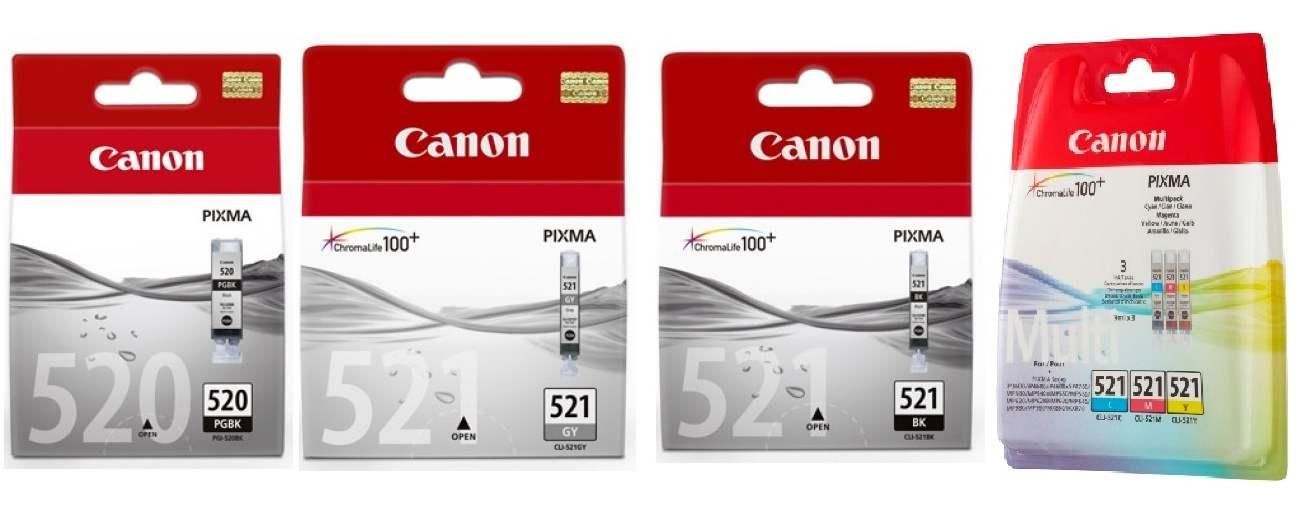 6 Canon Druckerpatronen Tinte PGI-520 BK / CLI-521 BK / C / M / Y / GY Multipack