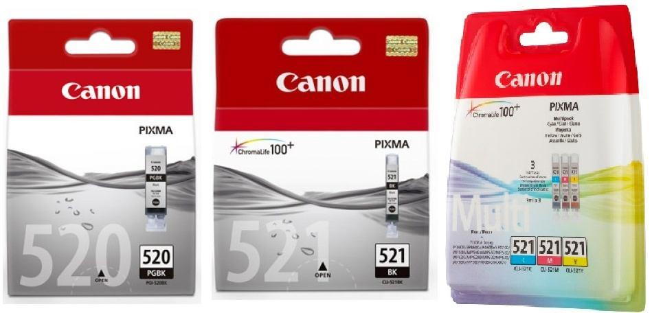 5 Canon Druckerpatronen Tinte PGI-520 BK / CLI-521 BK / C / M / Y Multipack
