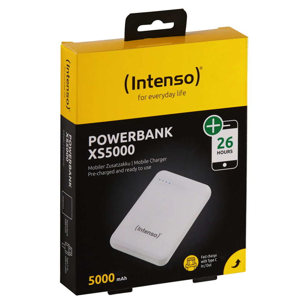 Intenso Powerbank mobile Ladestation Slim XS 5000 mAh Typ A / C USB OUT weiß