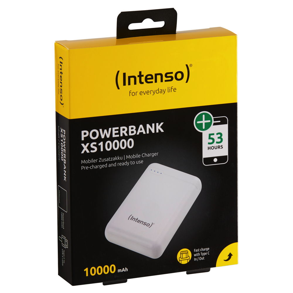 Intenso Powerbank mobile Ladestation Slim XS 10000 mAh Typ A / C USB OUT weiß