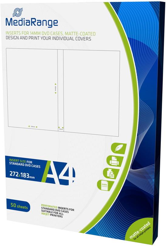 50 Mediarange Inlay zum bedrucken für 14 mm DVD Hüllen
