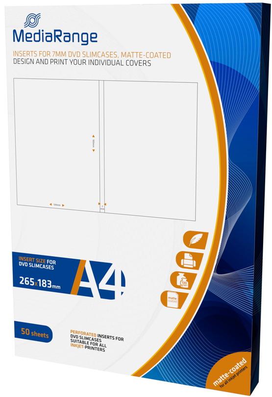 50 Mediarange Inlay zum bedrucken für 7 mm DVD Hüllen Slim
