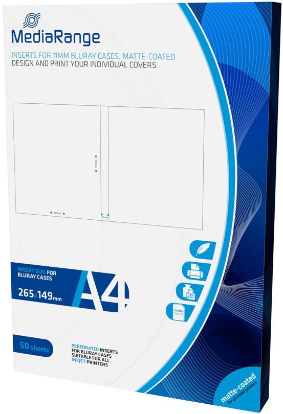 50 Mediarange Inlay zum bedrucken für 11 mm Blu-ray Hüllen