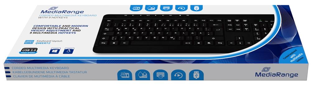 Mediarange Tastatur Multimedia mit Kabel Keyboard QWERTZ schwarz MROS102