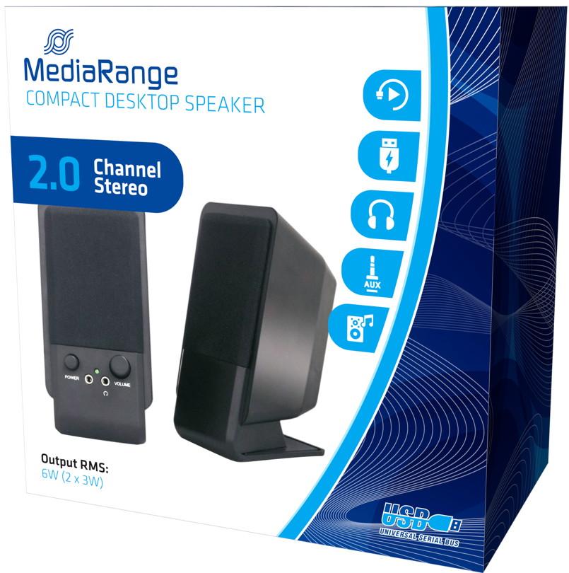Mediarange Lautsprecher 2.0 Channel Stereo PC Compact Desktop Speaker schwarz