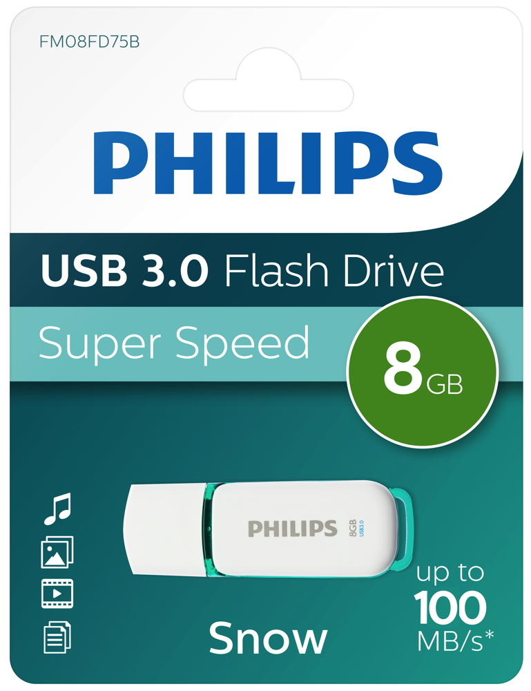 Philips USB Stick 8GB Speicherstick Snow weiß USB 3.0