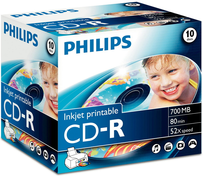 10 Philips Rohlinge CD-R printable printable 80Min 700MB 52x Jewelcase