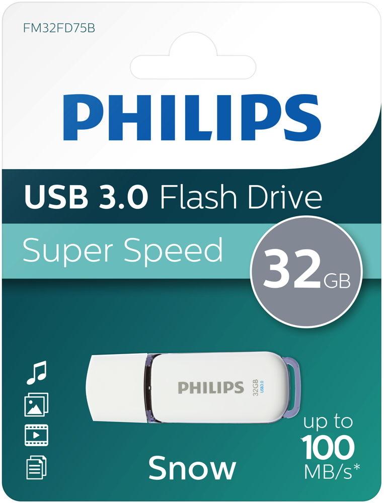 Philips USB Stick 32GB Speicherstick Snow weiß USB 3.0
