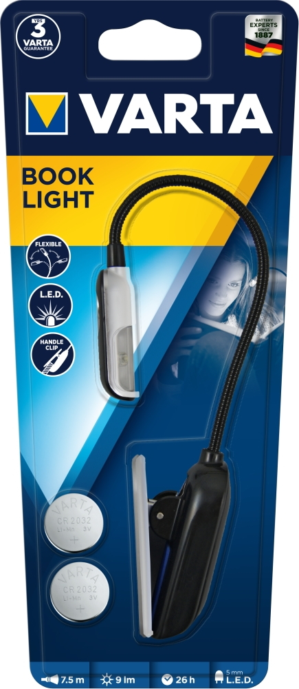 Varta Leselampe LED Book Light inkl. 2x CR2032 Batterien 16618