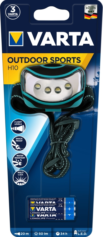 Varta Stirnlampe LED Outdoor Sports H10 inkl. 3x AAA Batterien 16630