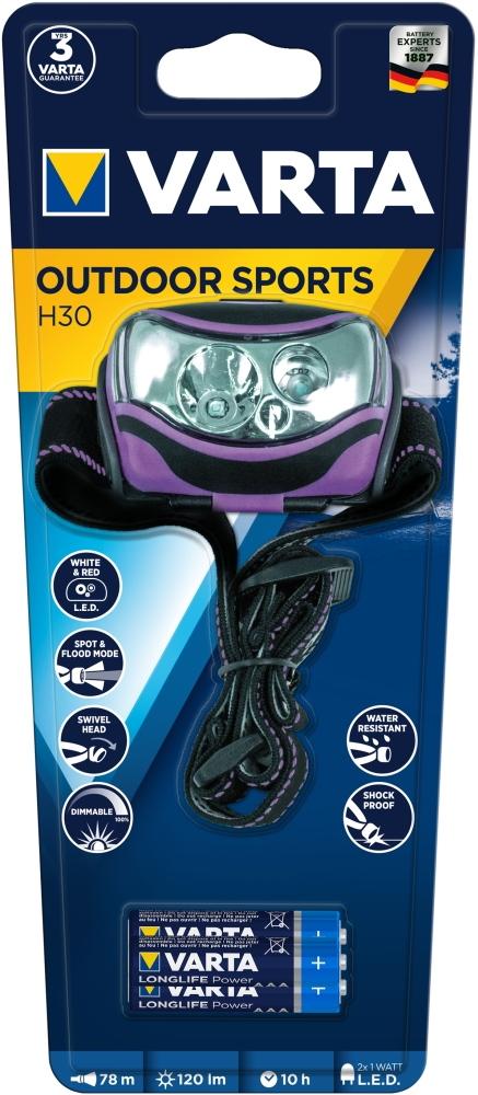 Varta Stirnlampe LED Outdoor Sports H30 inkl. 3x AAA Batterien 18630