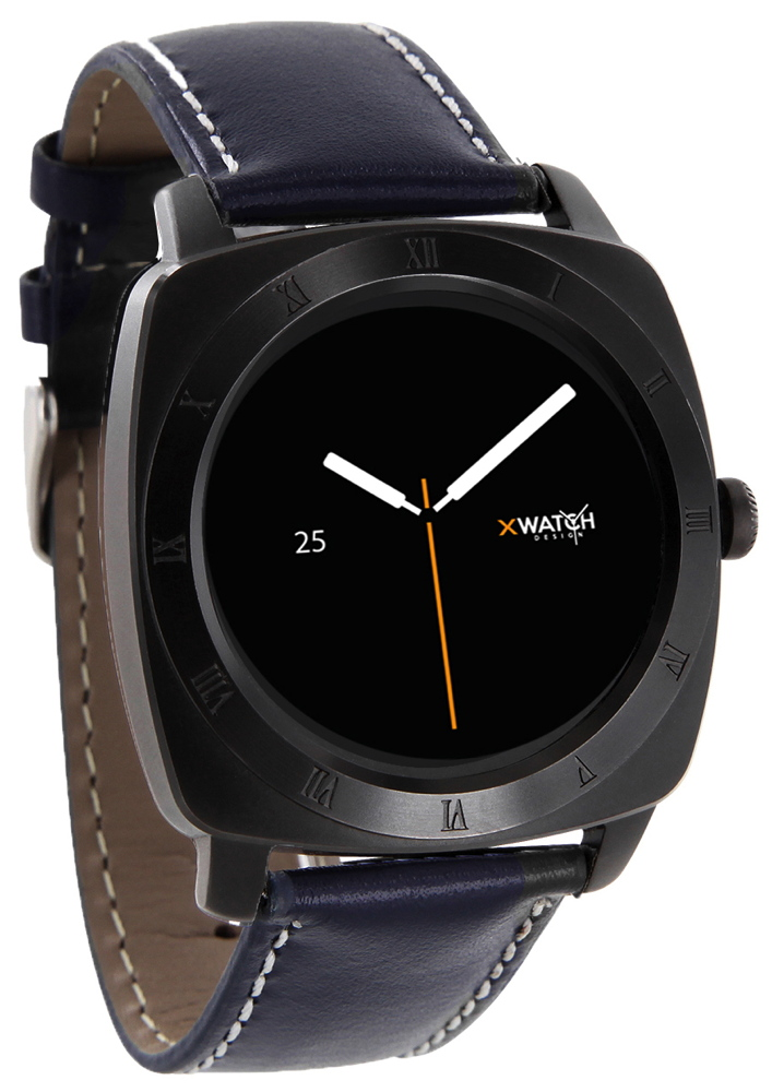Xlyne Pro Smartwatch X-Watch Nara XW Black Chrome Android IOS navy blue