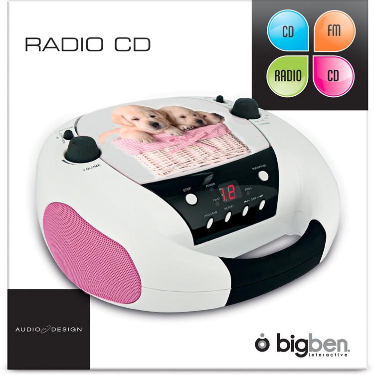 Bigben tragbarer CD Player CD52 Dogs Hunde mit FM Radio AUX-IN AU315158