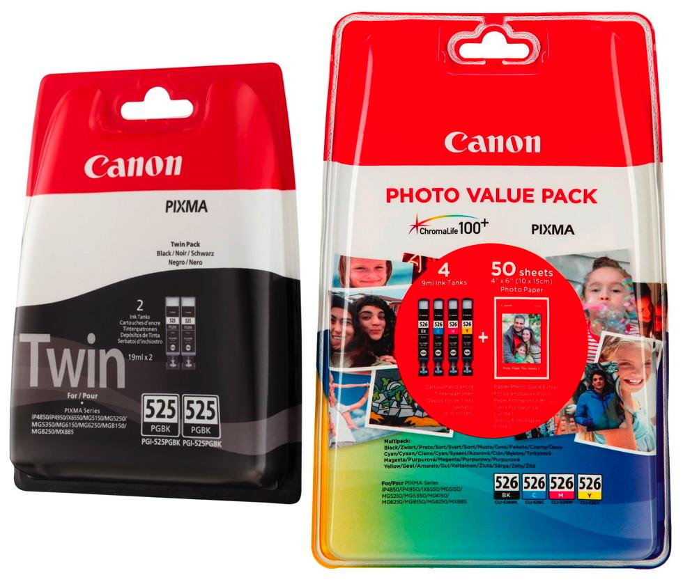 6 Canon Druckerpatronen Tinte 2x PGI-525 BK / CLI-526 BK / C / M / Y Multipack