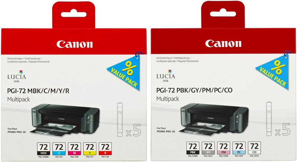 10 Canon Druckerpatronen Tinte PGI-72 C/CO/GY/M/MBK/PBK/PC/PM/R/Y Multipack