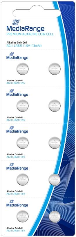 100 Mediarange AG1 / V 364 / LR621 Alkaline Knopfzelle Batterien im 10er Blister