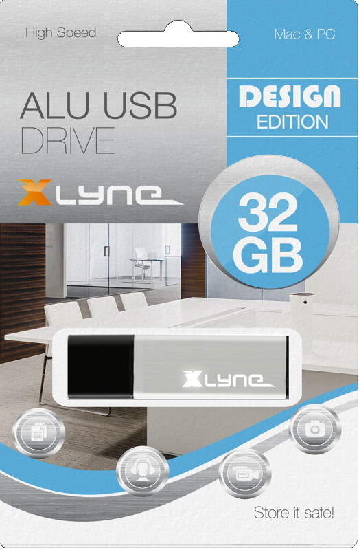 Xlyne USB Stick 32GB Speicherstick ALU silber