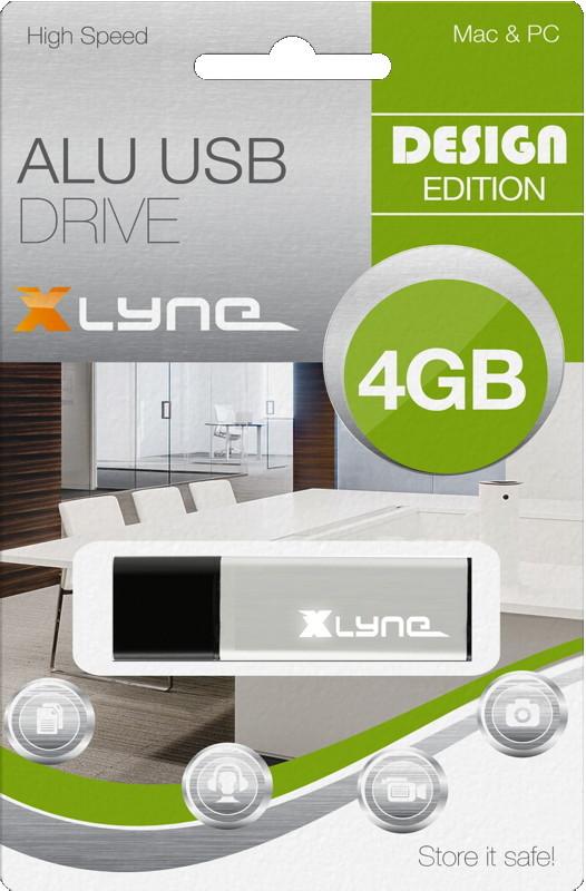 Xlyne USB Stick 4GB Speicherstick ALU silber