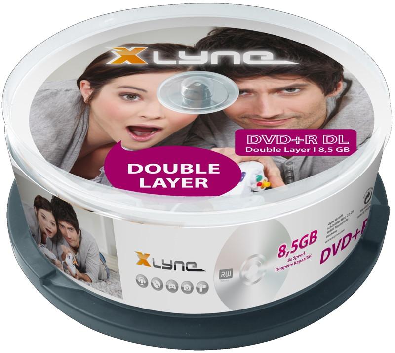 25 xlyne rohlinge dvd r double layer 8 5gb 8x spindel. Black Bedroom Furniture Sets. Home Design Ideas